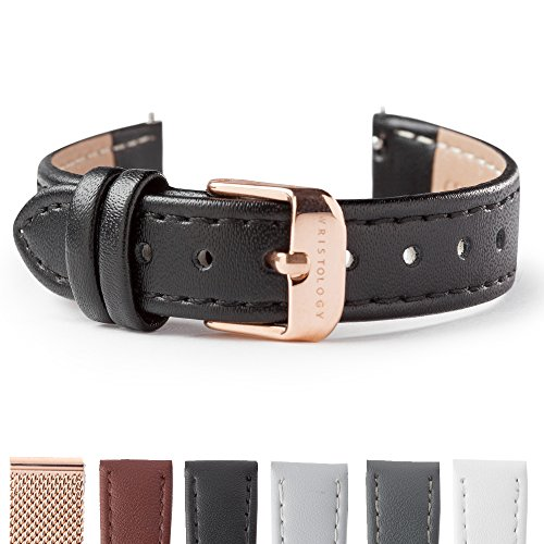 (WRISTOLOGY Rose Gold 14mm Womens Easy Interchangeable Stitched Leather Watch Band)