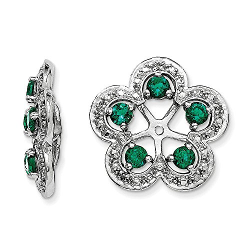 .925 Sterling Silver Genuine Diamond & Created emerald Earring Jackets (0.03 CTTW, I-J Color, I2 Clarity) by Earring Jackets
