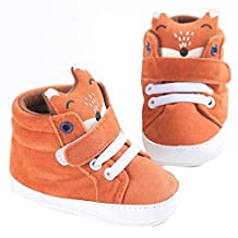 Susenstone Baby Girl Boys Fox Hight Cut Shoes Sneaker Anti-slip Soft Sole Toddler (12, Orange)