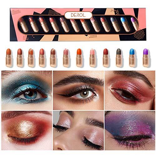 DAGEDA 12 Colors Capsule Eye shadow Set, Shimmer Glitter Diamond No Fading Makeup Natural Neutral Smokey Blendable Waterproof Eye Shadows Cosmetic