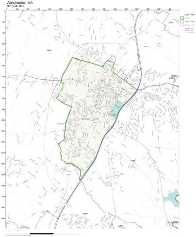 Winchester Va Zip Code Map Amazon.com: ZIP Code Wall Map of Winchester, VA ZIP Code Map
