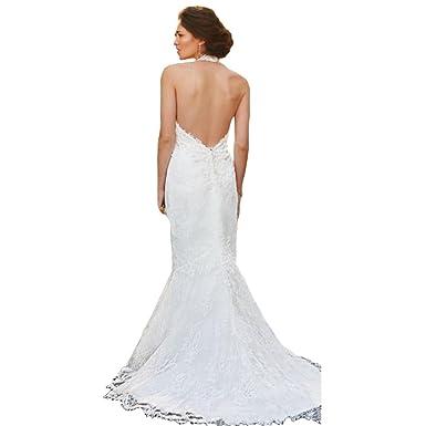 Yuxin Sexy Backless Lace Halter Wedding Dress For Bride Mermaid V Cut Sweep  Train Bridal