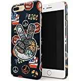 Glitbit Peace Sign Hippie Embroidered 70s 80s 90s Hipster Pride Tie Dye Stop War Thin Design Durable Hard Shell Plastic Protective Case For Apple iPhone 7 Plus / 8 Plus