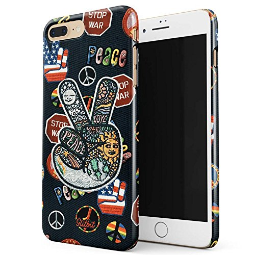 Glitbit Peace Sign Hippie Embroidered 70s 80s 90s Hipster Pride Tie Dye Stop War Thin Design Durable Hard Shell Plastic Protective Case For Apple iPhone 7 Plus / 8 - The From Weed 80s