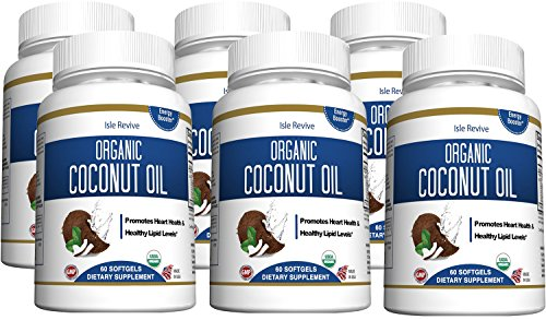 Coconut Oil Organic Capsules - 1000mg Extra Virgin Softgels - Promotes Hair Growth Skin Care Helps Acne - Supports Metabolic Energy Weight Loss - 6 Bottles - Made in USA and 3rd Party Lab Certified by Isle Revive