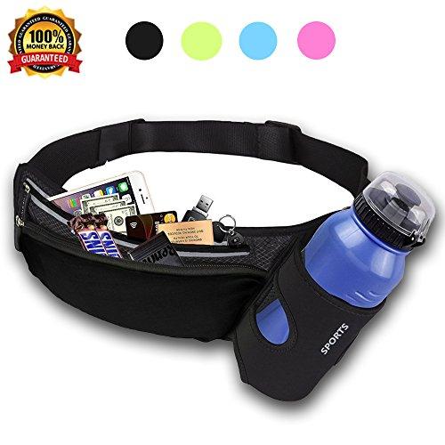 Malocaos Running Belt Waist Bag Fanny Pack for Women Men Kids with Water Bottle Holder Elastic Reflective Lightweight Waterproof Pouch Fit iPhone X 6 7 8 Plus