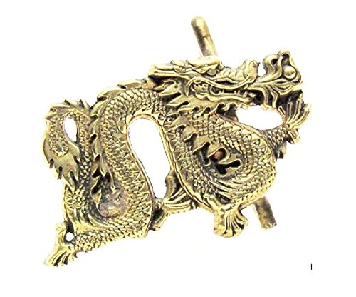 Vintage 1981 Chinese Dragon Belt Buckle Solid Brass Baron 6254