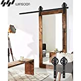 WINSOON Single Wood Sliding Barn Door Hardware Basic Black Big Spoke Wheel Roller Kit Garage Closet Carbon Steel Flat Track System (13FT)
