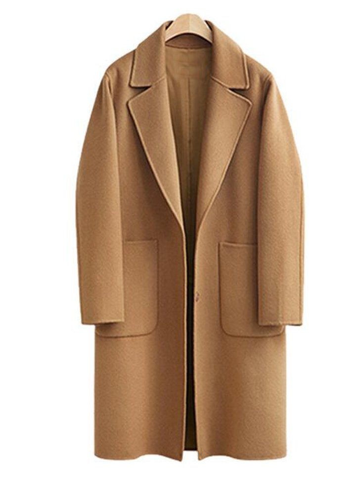 Wicky LS Women's Plus Size Autumn-Winter Trench Outwear Coat Style 1 Khaki 2XL