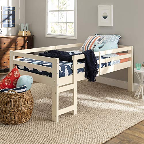 Walker Edison Furniture Company Wood Twin Low Loft Bunk Kids Bed Bedroom with Guard Rail and Ladder Easy Assembly, White