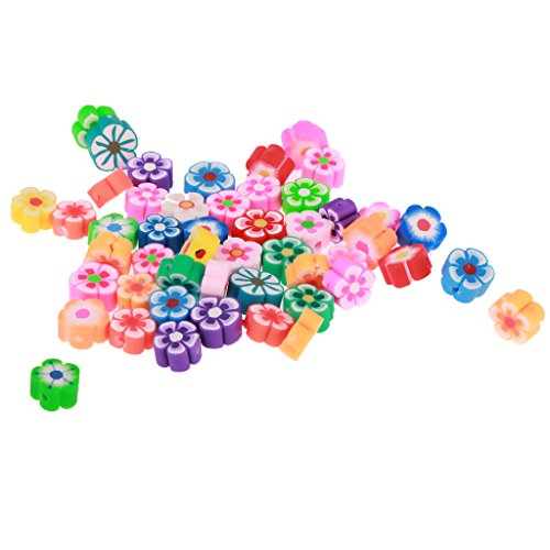 Jili Online 50pcs Flower Shape Polymer Clay Spacer Charms Beads for Jewelry Making Clay Flower Spacer