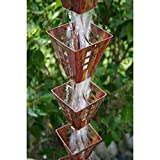 Arts & Crafts Square Cups Rain Chain with Installation Kit (9 Foot)
