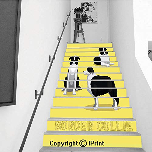 Stair Stickers Wall Stickers,13 PCS Self-Adhesive,Removable Art Staircase Decals for Stairway or Home Decoration,7.1
