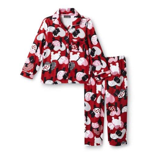 Joe Boxer Toddler Girls Red Flannel Sleepwear Set Terrier Dog Pajamas PJs 3T