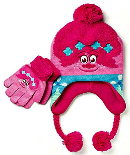 Dreamworks Trolls Poppy 2016 Knit Beanie Earflap Hat With Braided Ties Tassels and Glove Set