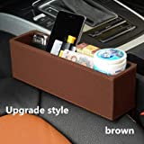 Labu Store Car Seat Crevice Storage Box Multi-Function Auto Gap Pockets PU Leather Organizers Black Interior Accessories Universal Size