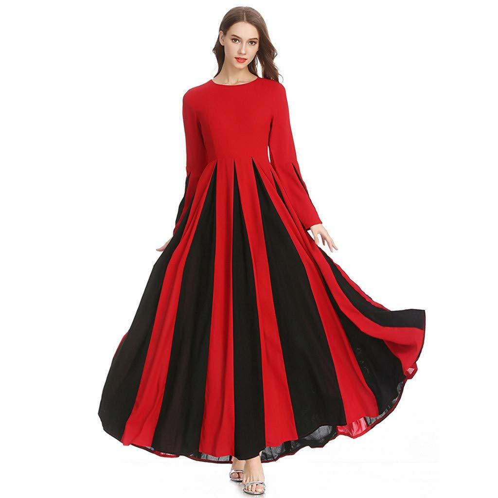 Likecrazy Damen A-Linie Plissee Kleid Frauen Stitching Schlank Dress langärmelige Muslim Hohe Taillen Festliche Kleider Sommerkleid Kleider Röcke Nachmittagskleid
