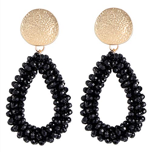Stylebar Teardrop Beaded Earrings for Summer Bohemian Black Bead Boho Drop Dangle Earring Handmade Jewelry for Women Girls Daily Wedding ()
