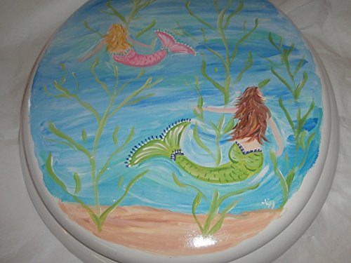 Hand Painted Toilet Seat - Hand painted swimming mermaids standard white toilet seat.
