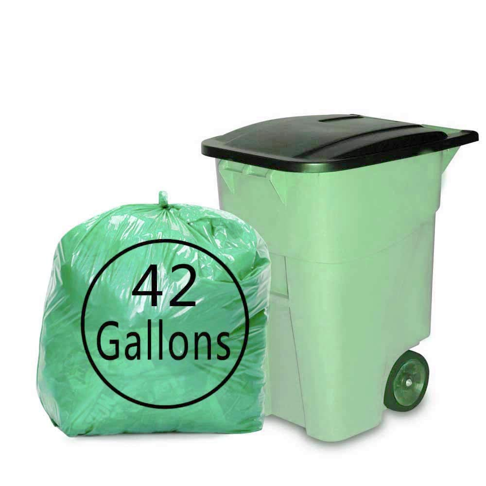 Morcte 42 Gallon Green Large Contractor Trash Bags, 64 Counts