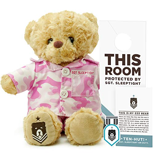 - ZZZ Bears SGT. Sleeptight Army Teddy Bear - Military Plush Toy, Four Step Sleep System to Help with Bedtime (Pink Camouflage)