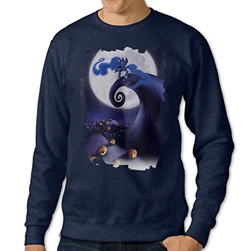 Night Before Christmas Costumes (AcFun Men's Design The Night Before Christmas Crewneck Sweater Size XL Navy)