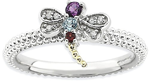 ICE CARATS 925 Sterling Silver 14k Gemstone Diamond Dragonfly Band Ring Size 7.00 Stackable Birthstone January Garnet February Amethyst December Blue Topaz Multiple Fine Jewelry Gift For Women Heart by ICE CARATS