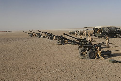 Posterazzi PSTACH100201M Howitzer 105mm light guns are lined up at Camp Bastion Afghanistan Poster Print 17 x 11