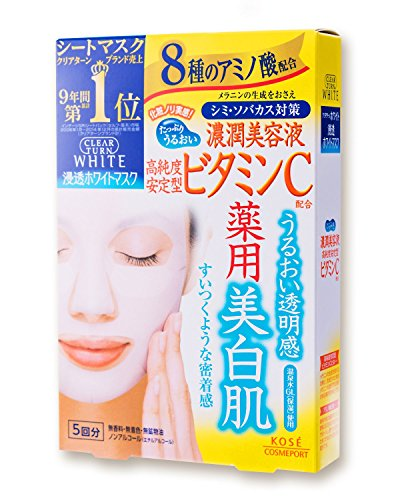 Kose Clear Turn White Vitamin C Facial Mask Sheets, 5 Count
