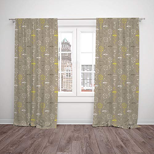 (Thermal Insulated Blackout Window Curtain,Grey and Yellow,Hand Drawn Sketchy Tulips Flowers Leaves Butterflies Art Image,Cocoa Black and White,Living Room Bedroom Kitchen Cafe Window Drapes 2 Panel Se)