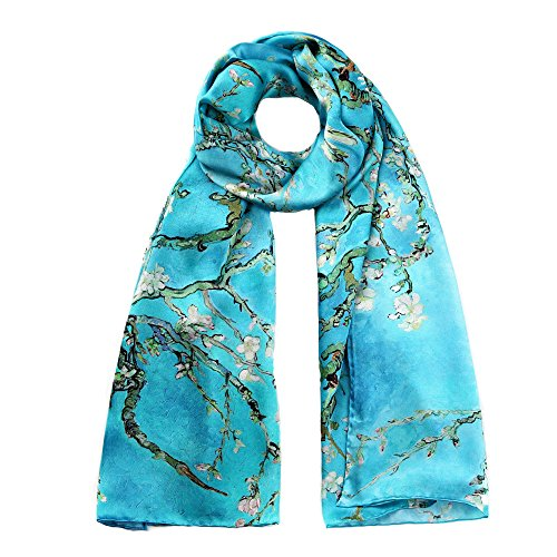 STORY OF SHANGHAI Womens 100% Mulberry Silk Head Scarf For Hair Ladies Floral Satin Scarf,Blue2,One Size