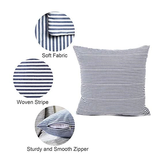 """Shamrockers Farmhouse Striped Throw Pillow Cover Decorative Cotton Linen Ticking Stripe Cushion Pillowcase (18""""x18"""", Navy, Pack of 2) - Material: 100% Cotton Linen & Imported; Features: Invisible Zipper, Sturdy and Smooth, Large 16 Inch (approx.) opening for EASY INSERTION and removal of pillows, Tight zigzag over-lock stitches to avoid fraying and ripping. Double sewing at 4 sides with the tear-proof design. Its hard to be tore and durable; Design & Occasion: Same design / pattern on BOTH SIDES of these blue and white throw pillow covers, make a modern and natural look to your room. Suitable for Sofa, Bed, Home Decor, Office, Car. - patio, outdoor-throw-pillows, outdoor-decor - 51DqAikBK5L. SS570  -"""