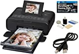 Canon CP1200 SELPHY Wireless Compact Photo Printer (Black) + USB Printer Cable + Camera and Camcorder Cleaning Kit + TheImagingWorld Micro Fiber Cleaning Cloth