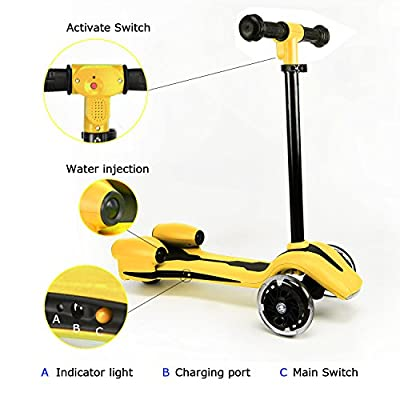 WdtPro Kick Scooter for Kids, Atomizing Kid Scooters with LED Light Up Wheels, Rocket Sprayer and Sound Effect, Adjustable Height : Sports & Outdoors