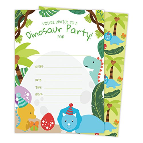 Dinosaur Style 2 Happy Birthday Invitations Invite Cards (25 Count) With Envelopes and Seal Stickers Vinyl Boys Girls Kids Party (25ct)