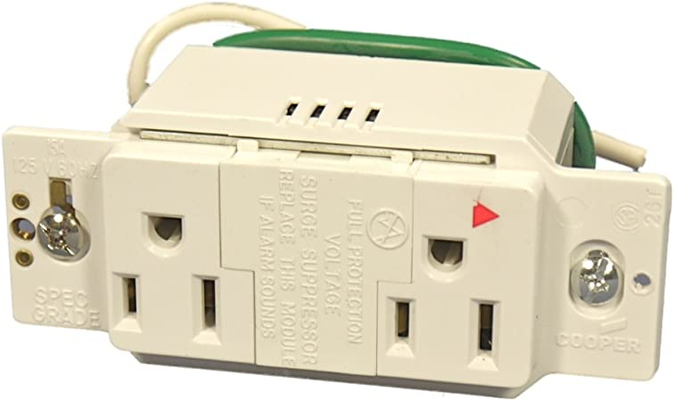 Cooper White TVSS Surge Protector Isolated Ground Duplex Receptacle Outlet 15A