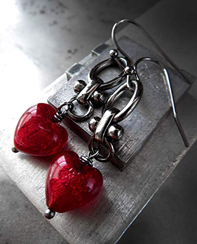 - Red Heart Earrings, Venetian Glass with Black Chain, Valentines Day Gift
