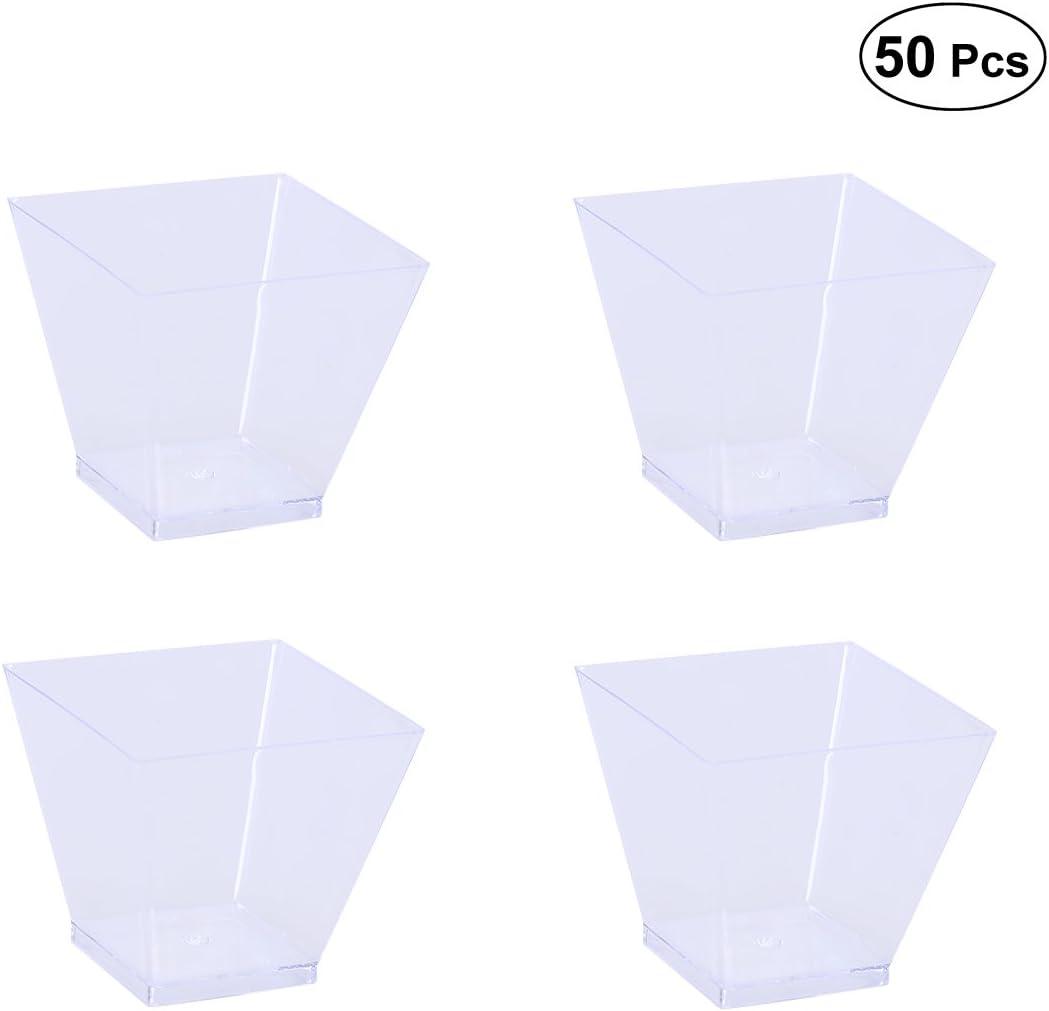 BESTonZON 50PCS 60ml Mini Tazas de Postre Plástico, Pequeñas Copas Desechables Transparente para Trifle y Jalea Platos de Postre