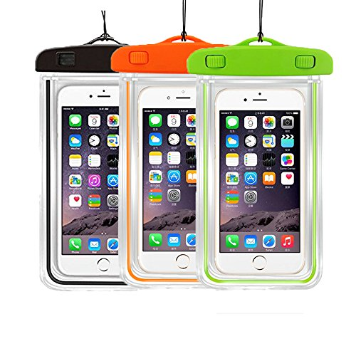 3PackUniversal Floatable Waterproof Cases Case Dry Bags CaseHigh Shop Transparent Covers Color Submersible for Cellphones Under 5.8 Inch Bumper Case Fashion Design (3 Pack:Black+Orange+Green