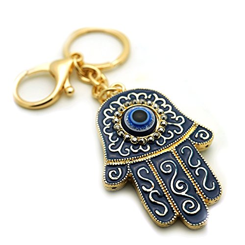 Teri's Boutique Blue Evil Eyes Good Luck Hamsa Turkish Woman Charm Purse Keychain (Gold) - Eye Good Luck Charm Keychain