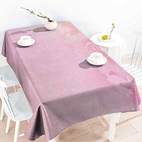 (familytaste Light Pink,Personalized Tablecloths Rose Petals in Soft Pastel Tones Romantic Bridal Floral Love Valentines Graphic Art 70