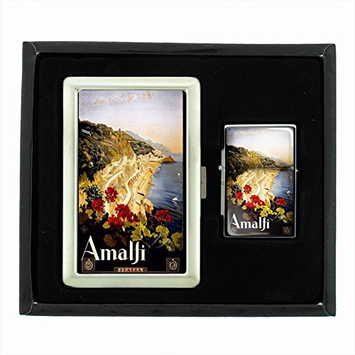 Cigarette Case Oil Lighter Gift Set Vintage Poster D-021 ITALY VINTAGE TRAVEL Amalfi 1910 by Perfection In Style