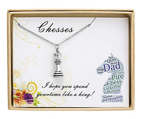 Sunique Tiny Chess Necklace Queen Chess Piece Necklace Chess Player Gift Chess Game Lover Gift