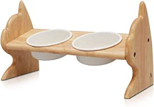 SCOGKATT CS Premium Elevated Dogs and Cats Feeder, Double Bowl Raised Stand with Ceramic Bowls Included. Made from Natural Rubber Wood Perfect for Small Dogs and Cats
