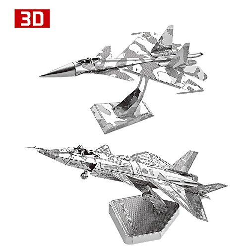 2pcs MoTu 3D Metal Nano Puzzle Su34 Fighter + Air Force J20 Model Kits D21120-27 DIY 3D Laser Cut Jigsaw Toys For Audit (Air Force Fighter Kit)