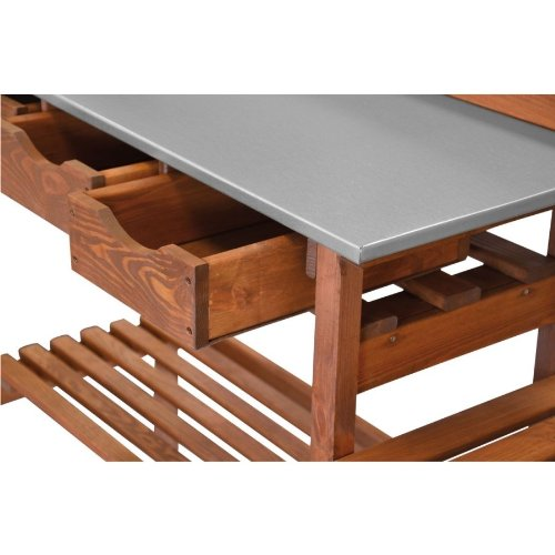 Kunststoffeimer 12L Pflanztisch 90x40x90cm Holz Tisch inkl Seitenablage inkl