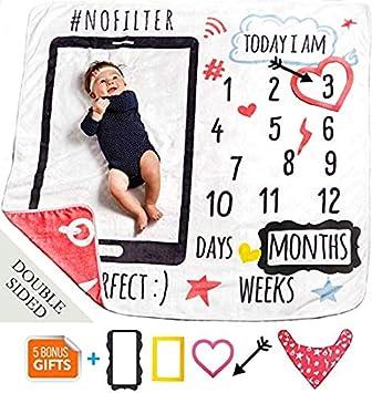 Amazon.com: MeBlanky Manta mensual para bebé con diseño de ...