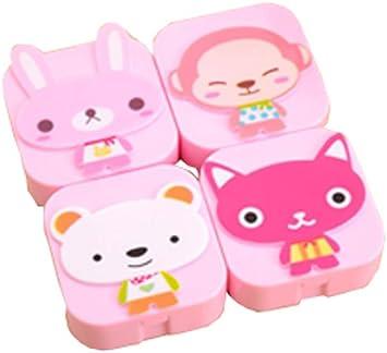 4 PC Cute Cartoon Creatures Caja de lentes de contacto/Caja de Cuidado de Plástico, Rosa: Amazon.es: Salud y cuidado personal
