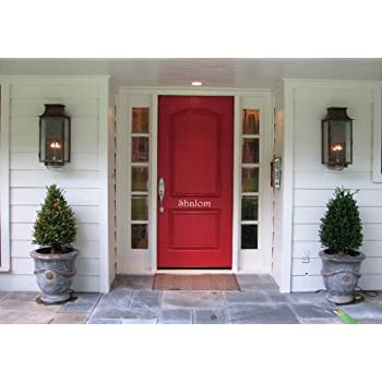 Marvelous Shalom Front Door Welcome 19 Inches White Vinyl Wall Decal
