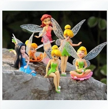 Anime Cartoon Tinkerbell Fairy PVC Action Figure Toys Girls Dolls Gift 6pcs/set